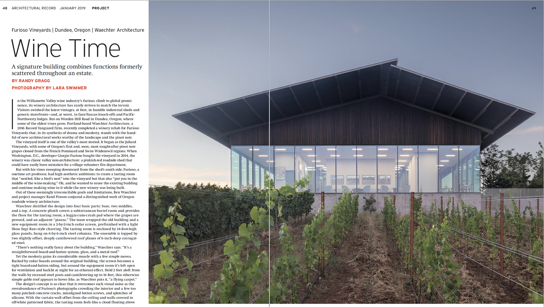 Architectural Record - Furioso Vineyards article