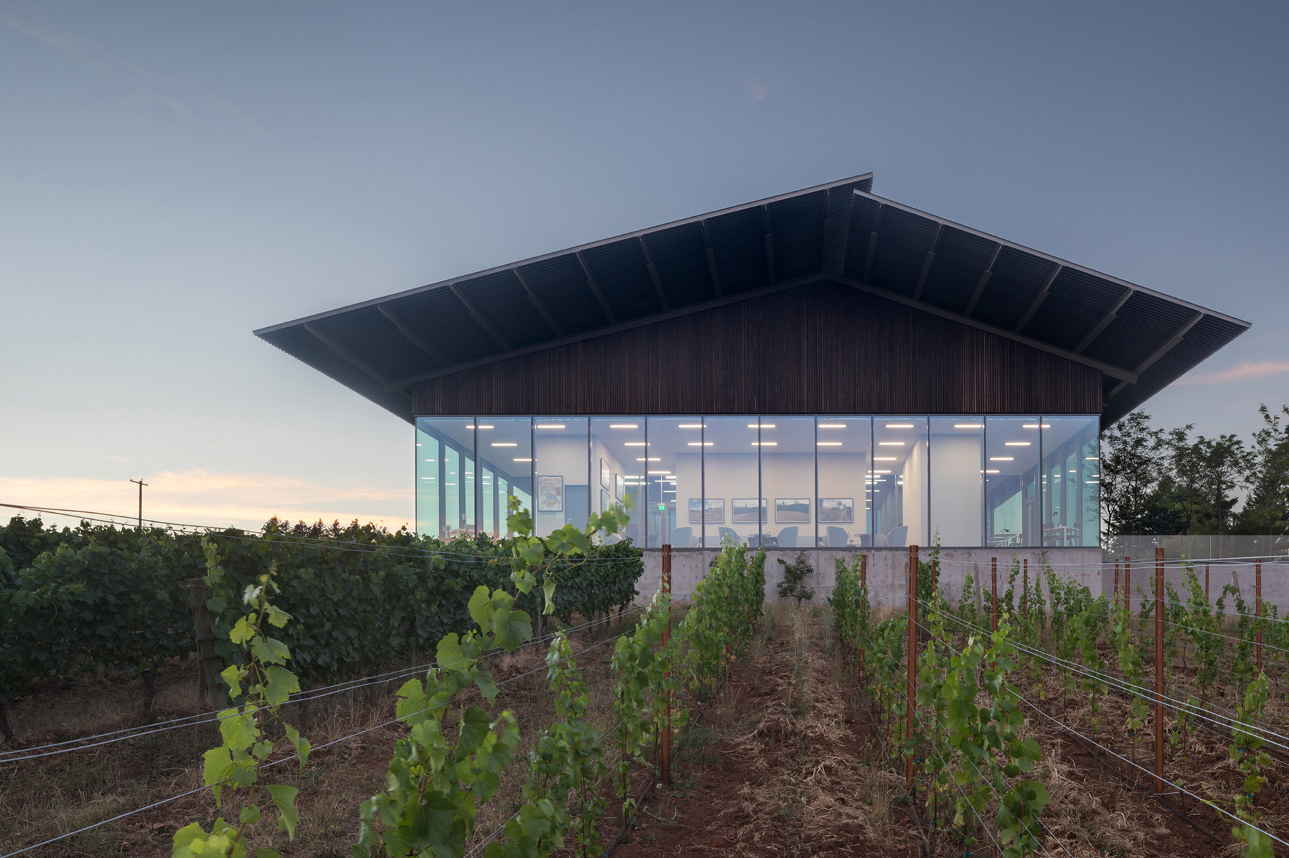 Furioso Winery facade at dusk